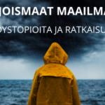 Hahmo keltaisessa sadetakissa katsoo myrskyisälle merelle