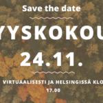 save the date: syyskokous 24.11. virtuaalisesti ja helsingissä klo 17